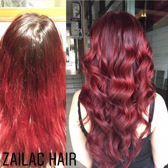 Zailac hair #beograd Farbanje kose Farbanje cele dužine Echosline + feniranje na ravno / lokne - ex