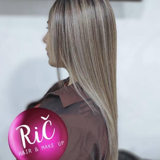 Rič #novisad Žensko šišanje Pramenovi u dve boje + tretman kose + feniranje - sve dužine