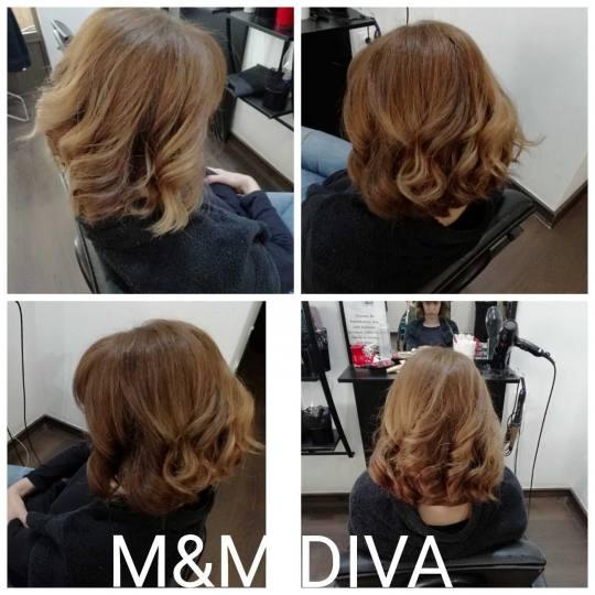 M&M Diva #beograd Feniranje i stilizovanje Feniranje na lokne - kosa srednje dužine