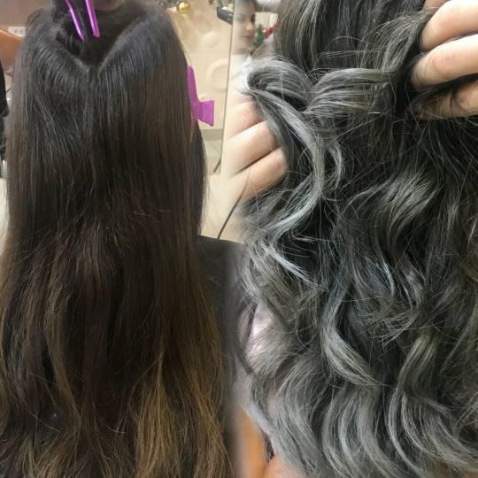 Cecix #beograd Ombre, sombre, balayage nijansiranje kose  sa šišanjem i feniranjem na lokne(talase