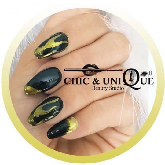 Chic & Unique #beograd Ojačavanje noktiju Ojačavanje noktiju gelom Hrom vatra crni nokti - tehnika