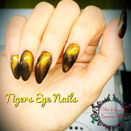 Chic & Unique #beograd Nadogradnja noktiju Korekcija nadogradnje noktiju tipsama Tigers Eye nails