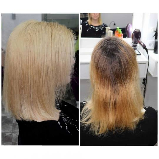 M Studio 0303 #novisad Blajhanje kose Blajhanje cele dužine + preliv + feniranje - kosa srednje du�