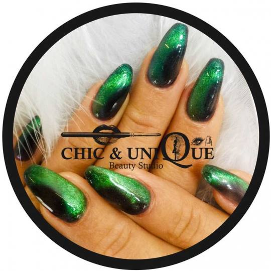 Chic & Unique #beograd Izlivanje noktiju Izlivanje noktiju gelom Cat eye magic reflection nails